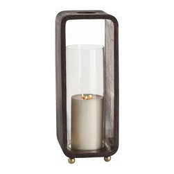 Arteriors - Slade Hurricane, Large - Set the mood with candlelight and display your flair for simple elegance. Wood, glass, embossed metal and brass all come into play, making this hurricane lantern a sublime addition to your decor.