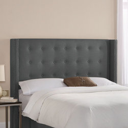 "Skyline Furniture - Patriot Upholstered Wingback Headboard - This handmade wingback headboard, upholstered in a soft polyester is trimmed with fashionable nail buttons. Its unique design will add a modern feel to any bedroom. Attaches to any standard metal frame. Features: -Solid pine frame, metal legs, polyester fill foam, polyurethane foam.-Spot clean only.-Made in the USA.-Wingback collection.-Frame Material: Pine wood.-Distressed: No.-Gloss Finish: No.-Hardware Material: Steel.-Wall Mounted: No.-Reversible: No.-Media Outlet Hole: No.-Built In Outlets: No.-Hardware Finish: Black metal.-Finished Back: No.-Hidden Storage: No.-Freestanding: No.-Frame Included: No.-Drill Holes for Frame: Yes.-Swatch Available: Yes.-Commercial Use: No.-Recycled Content: No.Specifications: -EPP Compliant: No.-CPSIA or CPSC Compliant: Yes.-CARB Compliant: Yes.-JPMA Certified: No.-ASTM Certified: No.-ISTA 3A Certified: Yes.-PEFC Certified: No.-General Conformity Certificate: Yes.-Green Guard Certified : No.Dimensions: -Leg Height: 6"".-Bottom of Headboard to Floor: 24"".-Overall Product Weight (Size: California King): 63 lbs.-Overall Product Weight (Size: Full): 56 lbs.-Overall Product Weight (Size: King): 68 lbs.-Overall Product Weight (Size: Queen): 61 lbs.Assembly: -Assembly Required: Yes.-Tools Needed: Allen wrench, wrench.-Additional Parts Required: No.Warranty: -1 Year limited warranty.-Product Warranty: 1 Year limited (Excludes fabric)."