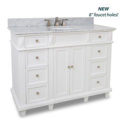 Hardware Resources - Douglas White Vanity with Preassembled Top and Bowl - This 48 inch wide MDF vanity features a sleek white finish  clean lines and tapered feet to give a modern feel.  A large cabinet with two banks of fully functional drawers provide ample storage.   This vanity has a 2CM white marble top preassembled with an H8809WH (15 x 12) bowl  cut for 8 faucet spread  and corresponding 2CM x 4 tall backsplash.