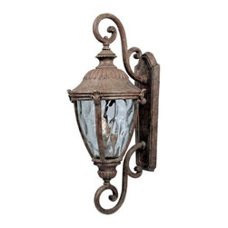 Maxim Lighting - Morrow Bay Outdoor Wall Sconce with Double Scroll by Maxim Lighting - The Maxim Lighting Morrow Bay Outdoor Wall Sconce with Double Scroll's rustic charm invites visitors and exhibits the tasteful character of the home dwellers. The Morrow Bay Outdoor Wall Sconce with Double Scroll features a cast aluminum body, Water Glass and Earth Tone finish. Maxim Lighting, headquartered in California, offers high-quality lighting fixtures in a variety of designs, finishes, and glass styles that complement contemporary and transitional interiors.