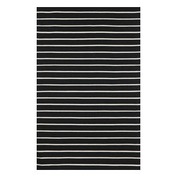 "Trans-Ocean - Pinstripe Black 7'6"" x 9'6"" Indoor/Outdoor Flatweave Rug - Simple stripe patterns combine with sophisticated blended colors in this Indoor/Outdoor flatweave. 100% Polyester, this flat weave reversible rug is easy to care for and great for any indoor outdoor space. Soft Polyester is tightly hand woven by artisans in India with great attention paid to detail such as the serging to create this durable yet attractive Indoor Outdoor rug."