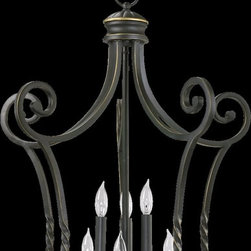 Quorum Lighting - Quorum Lighting Tribeca Traditional Foyer Light X-59-6-8786 - This gorgeously elegant foyer pendant light by Quorum is sure to add a touch of old world class to your home. Reminiscent of the Victorian era, wrought iron in toasted sienna or old world finish make the fixture look like an antique gas lamp. Ideal for trasitional or traditional home decor, this pendant provides a stunning quality of ambient light.