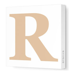 """Avalisa - Letter - Upper Case 'R' Stretched Wall Art, 12"""" x 12"""", Light Brown - Spell it out loud. These uppercase letters on stretched canvas would look wonderful in a nursery touting your little one's name, but don't stop there; they could work most anywhere in the home you'd like to add some playful text to the walls. Mix and match colors for a truly fun feel or stick to one color for a more uniform look."""