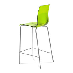 DomItalia Furniture - Gel-SGA Bar Stool in Green - Stool with satin finish aluminum or chromed varnished steel structure, the Gel Stool in Green offers comfortable contours and simple modern style that make your space come alive and keep you comfortable.