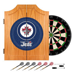 Trademark Global - NHL Winnipeg Jets Dart Cabinet Set - Includes six steel tip darts and board. Self healing sisal fiber dartboard. Removable number ring. High quality cabinet. Officially licensed art displayed on the interior and exterior of the doors. Solid pine construction. Dove tail joints. Beveled doors. Metal hinges. Interior door mounted dry erase scoreboard and out chart. Two magnetic markers with erasers. Made from wood and metal. No assembly required. Dartboard: 18 in. Dia.. Cabinet: 20.5 in. W x 3.5 in. D x 24.75 in. H. Overall: 23.25 in. W x 3 in. D x 21.25 in. H (23 lbs.)Enjoy competition among friends while pre-gaming, during halftime, or at the after party . The officially licensed beveled wood dart cabinet comes with everything you need for a great game. With an officially licensed beveled wood dart cabinet you are guaranteed to have fun no matter what the score! NHL and the NHL Shield are registered trademarks of the National Hockey League. All NHL logos and marks and NHL team logos and marks depicted herein are the property of the NHL and the respective teams and may not be reproduced without the prior written consent of NHL Enterprises, L.P. A NHL 2012.