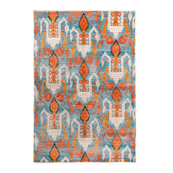 Safavieh - Peyton Hand-Knotted Rug, Aqua and Orange - Construction Method: Hand Knotted. Country of Origin: India. Care Instructions: Vacuum Regularly To Prevent Dust And Crumbs From Settling Into The Roots Of The Fibers. Avoid Direct And Continuous Exposure To Sunlight. Use Rug Protectors Under The Legs Of Heavy Furniture To Avoid Flattening Piles. Do Not Pull Loose Ends; Clip Them With Scissors To Remove. Turn Carpet Occasionally To Equalize Wear. Remove Spills Immediately. Global influences abound in Safavieh's new Luxor collection which is hand-knotted of lustrous banana silk in the classic Egyptian weave. Patterns and colors are as brilliant as Silk Route textiles, and woven by master artisans in India.