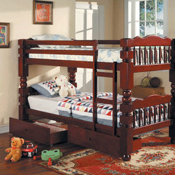 Benji Cherry Post Twin Bunk Bed with Storage Drawers - Its under-bed storage drawers provide space for linens, bedding or toys. Ensuring years of dependable use, this attractive Benji Bunk Bed features solid wood and veneer construction.