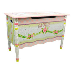Fantasy Fields - Fantasy Fields Crackled Rose Personalized Toy Chest Multicolor - W-6338GP - Shop for Childrens Toy Boxes and Storage from Hayneedle.com! Your little lady will be excited to add the vintage style of the Fantasy Fields Crackled Rose Personalized Toy Chest to her space which is why she'll probably ignore your weak attempt at a Neil Diamond pun when you tell her the name. The crackled painted finish gives it a classic touch while the robust body of engineered wood adds enough strength to withstand years of regular love and attention. Turned legs and a scalloped apron add to the traditional style and the flip-top lid opens up to reveal plenty of storage. When the lid comes down safety hinges makes sure it comes down slowly so no fingers get pinched.About Teamson DesignBased in Edgewood N.Y. Teamson Design Corporation is a wholesale gift and furniture company that specializes in handmade and hand-painted kid-themed furniture collections and occasional home accents. In business since 1997 Teamson continues to inspire homes with creative and colorful furniture.