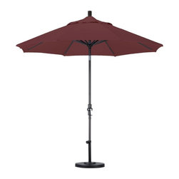 California Umbrella - California Umbrella Patio Umbrellas 9 ft. Aluminum Collar Tilt Patio Umbrella - Shop for Outdoor Patio Furniture at The Home Depot. Designed for convenience value and performance California Umbrella products bring the full weight of our design experience to your table. California Umbrella pioneered and developed the original and revolutionary Collar Tilt feature to tilt your umbrella to any degree you wish while you enjoy the afternoon and evening outside. We still boast the widest tilt degree in the Market allowing you to stay outside longer with your family and friends. Olefin fabrics are an excellent fabric choice for customers looking to shade their space on a budget without sacrificing quality. Made with high durability synthetic Olefin fibers Olefin fabrics offer improved fade resistance over lesser grade fabric materials like polyester and cotton without the added expense of acrylic canvas. Olefin fabrics are a strong value so with some basic care they can give you several years of enjoyment. Olefin color selections match up perfectly with all the most popular colors on the market so your shade solution is beautiful without breaking the budget. Color: Matted Black.
