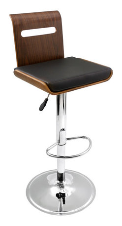 "Lumisource - Viera Bar Stool, Walnut/Black - 19"" L x 20.5"" W x 34.5 - 42"" H"
