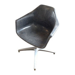 Used Mid-Century Eames Style Fiberglass Armchair - This Eames-style armchair comes in a cool gray fiberglass. The stainless center pole with four legs make it very sturdy. It can be used indoor or outdoor. We have four of these chairs. Price stated is for one. Please contact support@chairish if you'd like to purchase more than one.
