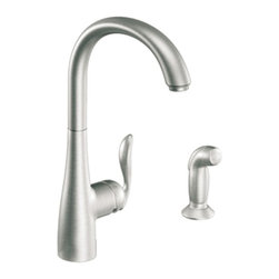 """Moen - Moen 7790CSL Arbor Single Handle High Arc Kitchen Faucet with Sidespray in Class - Moen 7790CSL Arbor Single Handle High Arc Kitchen Faucet with Sidespray in Classic StainlessThe Arbor line delivers streamlined and timeless transitional styling that meets personal preferences and houses a host of performance features that make Arbor extremely flexible and friendly to use.Moen 7790CSL Arbor Single Handle High Arc Kitchen Faucet with Sidespray in Classic Stainless, Features:• High-arc spout provides more clearance• One-handle lever design for ease of use• Spout height: 15.5""""• Matching Sidespray• • Single hole mount• ADA Compliant• Hydrolock quick connect system for easy installation• Application: one to four hole• 3/8"""" compression fittings• 2.2 GPM (8.3 l/min)Moen Installation Instructions  Moen Limited Lifetime WarrantyManufacturer: MoenModel Number: Moen 7790CSLManufacturer Part Number: 7790CSLCollection: ArborFinish Code: Finish: Classic StainlessUPC: 026508207598This product is also listed under the following Manufacturer Numbers and Finish Codes:Moen-7790CSL7790CSLMoen 7790CSLMO7790CSLProduct Category: Kitchen FaucetsProduct Type: Single Handle Kitchen Faucet with Sidespray"""