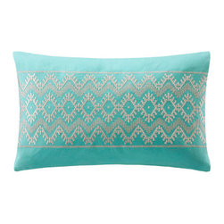 echo design - Mykonos Oblong Pillow - Features: -Mykonos collection. -Material: 100% Cotton linen. -Embroidered decorative pillow.