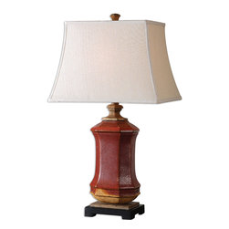 Uttermost - Fogliano Red Ceramic Lamp - This is a table lamp that will light your imagination. The vibrant, rustic red ceramic base has burnt orange accents and rust bronze distressing. The beige linen shade brings texture and a soothing contrast to the blaze below.