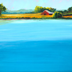 """Ann Rea - Bring home Dry Creek Valley with """"Vineyard Lake"""", original oil painting - """"I was standing in this serene spot overlooking a lake in the shade of an ancient olive grove."""" -Ann Rea"""