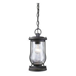 Elk Lighting - Elk Lighting Farmstead Outdoor Chain Hung Lighting Fixture in Matte Black - Shown in picture: lanterns have been widely used for portable lighting for hundreds of years until the time electricity reached rural farming areas. Its simple design and function made it one of the most practical and widely used devices in history. This series carries on this historic design style with clear water glass and period - authentic matte black finish.