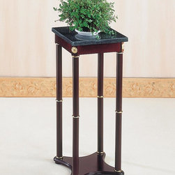 Coaster - Cherry Traditional Plant Stand - Green marble top plant stand with a cherry finish base.