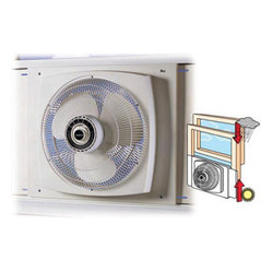 "Lasko Products - 16"" Reversible Window Fan - The 16"" Electrically Reversible Window Fan powerfully circulates air through two to three rooms. Plus  its exclusive Storm Guard  feature allows you to close the window behind fan for safety and security during inclement weather or while you're away."