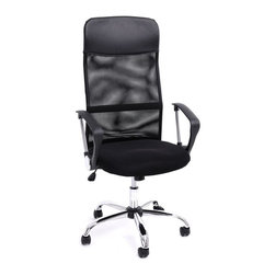Large Spin Computer Armchair With Tilting Function Black Height Adjustment Swive - Product Description:
