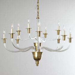 VISUAL COMFORT - Visual Comfort Vivian Two-Tier Chandelier - Visual Comfort's Vivian chandelier in brass and crystal is classy yet contemporary at the same time. The arching arms create a clean silhouette, while the brass accents add a touch of luxury. I would use it in a Regency-themed living room or dining room.