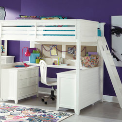 Lea Industries - Lea Willow Run Tall Loft Bed w/ Desk in Linen White Twin - Willow Run, by Lea Furniture, is a clean, modern take on country styled bedroom furniture and designed to appeal to almost everyone. Generous undertop moldings, framed drawers and tapered feet give this group a sense of value and scale. Constructed with Maple Veneers and Poplar Solids in a clean and welcoming Linen White color finish allows the grouping to fit most any room décor. The hardware options allow the look of the collection to change easily and adds even more versatility. Willow Run includes a large selection of bed and case options for any size room or budget. - 245-977R-D.  Product features: Constructed with Maple Veneers and Poplar Solids; 2 Cork Panels; Linen White finish; Available in Twin and Full sizes. Product includes: Tall Loft End Panels w/ Slat Pack (1)              ; Tall Loft 1-Side Rail, Guard Rail & Ladder (1); Wood Rails (1)                      ; Cork Panel (1); Tall Loft Desk Top (1)                                . Tall Loft Bed w/ Desk in Linen White belongs to Willow Run Collection by Lea Industries.