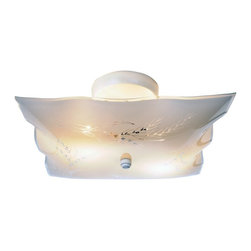 Premier Faucet - 6 inch Flush Mount Ceiling Light - White - This ceiling fixture features square white glass with unique wheat designs. Brighten any room with this 12in. surface mount fixture. An excellent choice for those seeking the perfect mix of economy and functionality.