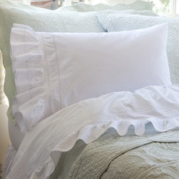 Taylor Linens - Elisa Egg-Shell White King Sheet Set - Flirty and feminine, this luxurious sheet set is superbly tailored, with ribbons of lace bordered by bands of delicate pintucks. Billowing ruffles caress the edges for endless nights of romantic indulgence.