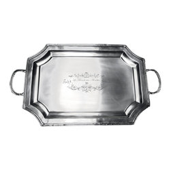 Brasserie Pewter Rectangle Tray - Elegant and traditional, the Brasserie Pewter Rectangle Tray has deep sides, scalloped corners, a broad rim, and generous handles for a shape that gives you convenience and ease in serving and display while also providing a traditional element in your tablescapes and decor. Fine scrollwork engraving in the center of the tray subtly increases the elegant impression it makes.