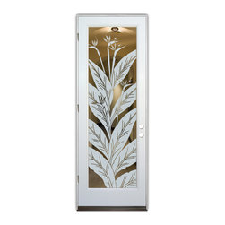 Sans Soucie Art Glass (door frame material Plastpro) - Glass Front Entry Door Sans Soucie Art Glass Bird of Paradise - Sans Soucie Art Glass Front Door with Sandblast Etched Glass Design. Get the privacy you need without blocking the light, thru beautiful works of etched glass art by Sans Soucie!  This glass is semi-private.  (Photo is view from outside the home or building.)  Door material will be unfinished, ready for paint or stain.  Bronze Sill, Sweep and Hinges. Available in other sizes, swing directions and door materials.  Dual Pane Tempered Safety Glass.  Cleaning is the same as regular clear glass. Use glass cleaner and a soft cloth.