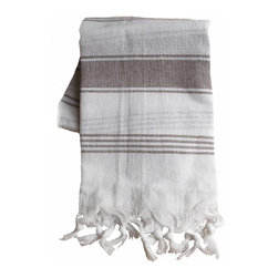 Turkish Cotton Bath and Beach Towel, Heather Brown Stripe - All cotton Turkish bath and beach towel with decorative heather tone stripes on white for a pure, clean look.  The fringe is not simply sewn on, but made by pulling threads at the bottom of the towel, knotting several of the threads together and then hand tying. Lightweight and quick drying.  Size is about 37 x 68 inches plus fringe.