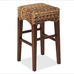 """Seagrass Backless Barstool, Medium, Havana Dark - Incredibly durable, renewable, and rich in tonal variation, seagrass and abaca bring relaxed style to the dining room. Color variations are inherent in the natural plant fibers used in our seagrass collection. The result may be differences in color tone from that shown. Beautifully built with handwoven natural fiber over a solid beech frame. Features a comfortable, reinforced foam-padded seat. Sturdy crossbars double as footrests. Honey has honey-stained legs and is woven of seagrass. Havana Dark has mahogany-stained legs and is woven of abaca. Sealed with two coats of clear lacquer for moisture resistance. Medium: 14"""" square, 26"""" high Tall: 14"""" square, 30"""" high Catalog / Internet only. View our {{link path='pages/popups/fb-dining.html' class='popup' width='480' height='300'}}Furniture Brochure{{/link}}."""