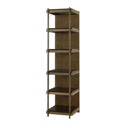 """Hammary - Bruno Etagere - """"A polished & sophisticated group inspired by the modern architecture & fine leather goods found in Milan, Italy. Bruno offers a perfect mixture of materials to create a stunning setting. Crafted of Birch Solids & Veneers with Faux Crocodile Skin Fronts. Steel bases and tempered glass."""