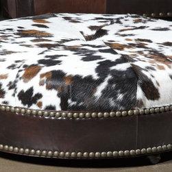 Western hair hide Ottoman. Luxury Furniture -