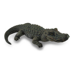 Zeckos - Lifelike Alligator Statue Gator Garden Decoration 20 Inch - Imagine the looks of surprise from your friends and neighbors when they see this alligator peeking out from your flowerbed, pond or pool This 20 inch long, 12.5 inch wide, 6.5 inch high (51 x 32 x 17 cm) cast resin alligator statue will even make you do a double take with an expertly detailed and hand-painted lifelike finish from scaly skin to webbed feet. It's great on the porch, patio or lawn to keep pests away or to ward off unwanted visitors near the entry
