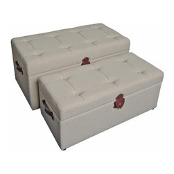 International Caravan - 2-Pc Indoor Storage Bench Set - Includes medium and large bench. Tufted cushion top. Perfectly can be used as storage bench or trunk. Trunk to double as comfortable occasional bench. Upholstered in ivory fabric. No assembly required. Weight: 70 lbs.Add touch of classic elegance to your indoor furnishings with this benches.
