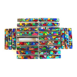 Stunning glass cabinet hardware in colorful dichroic glass mosaics. - Mosaic Dichroic Glass Kitchen Cabinet Handles by Uneek Glass Fusions.  Stunning jewel tone handcrafted art glass handles or drawer pulls in vibrant colors.