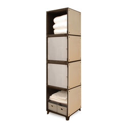 Yube Modular Furniture - Yube Modular Furniture Tall Bathroom Shelf - This easy to build bathroom cabinet holds plenty for bathroom storage. Modern, stylish, and eco-friendly Yube Cube eco-furniture is made out of panels that are practically edible - they are made from sugarcane after the juice has been extracted. The frames are made of woodlite - a moldable thermoplastic mixed with fiber made from bamboo, the renowned renewable wood resource. Perfect for feeling good about organizing your home!