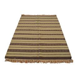 1800GetARug.com - Hand Woven 100% Wool Flat Weave Beige & Brown 4'X6' Durie Kilim Area Rug Sh7003 - Hand Woven 100% Wool Flat Weave Beige & Brown 4'X6' Durie Kilim Area Rug Sh7003