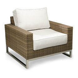 Thos. Baker - Palms Wicker Aloha Sesame Outdoor Club Chair - The palms collection  features rich, coffee-colored Viro all-weather wicker woven over rust-resistant aluminum frames set on 304-grade stainless legs. Plush cushion sets are covered in Sunbrella outdoor performance fabrics made-to-order in your choice of solids or textures or premium woven and striped patterns.Signature or premium cushion sales are final and ship in 2-3 weeks.