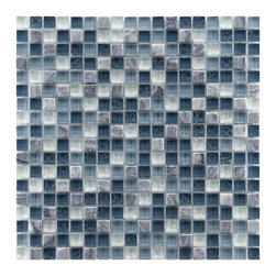 Somertile - Somertile Reflections Mini 0.625-inch Gulf Glass/ Stone Mosaic Tiles (Pack of 10 - Perfect for updating a bathroom,this pack of glass and natural stone mosaic tiles adds a clean sleek look to walls. With multiple colors,these textured tiles create a multidimensional effect for a modern appearance that will impress guests.