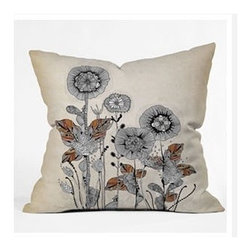 "DENY Designs - Iveta Abolina Floral 3 Throw Pillow - Wanna transform a serious room into a fun, inviting space? Looking to complete a room full of solids with a unique print? Need to add a pop of color to your dull, lackluster space? Accomplish all of the above with one simple, yet powerful home accessory we like to call the DENY Throw Pillow! Features: -Iveta Abolina collection. -Material: Woven polyester. -Sealed closure. -Spot treatment with mild detergent. -Made in the USA. -Closure: Concealed zipper with bun insert. -Top and back color: Print. -Small dimensions: 16"" H x 16"" W x 4"" D, 3 lbs. -Medium dimensions: 18"" H x 18"" W x 5"" D, 3 lbs. -Large dimensions: 20"" H x 20 W x 6"" D, 3 lbs."