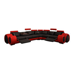 """VIG Furniture - Walden - Black and Red Sectional Sofa with Recliners - Its contemporary look will add style and comfort to any living room space. Features 2 adjustable footrests at the ends of the sectional for the ultimate relaxed feel. Also features a pull down back rest that has 1 cup holder and tray. Left Facing 3 Seater: W72"""" x D41"""" x H31"""""""