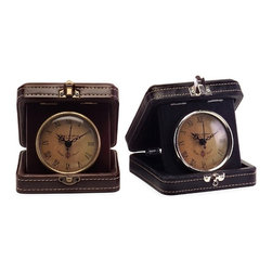 """IMAX CORPORATION - Vintage Travel Clocks - Set of 2 - Vintage Travel Clocks. Set of 2 in various sizes measuring around 5.5""""h x 5.25""""w x 6"""" each. Shop home furnishings, decor, and accessories from Posh Urban Furnishings. Beautiful, stylish furniture and decor that will brighten your home instantly. Shop modern, traditional, vintage, and world designs."""