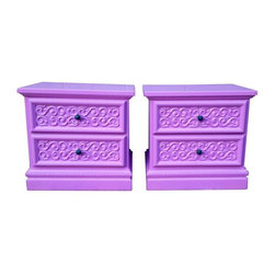 "Pre-owned Vintage Purple Nightstands - A Pair - A gorgeous pair of vintage nightstands freshly painted in Pantone's color of the year ""Radiant Orchid"". The drawer knobs are a deep shade of peacock blue with brass."