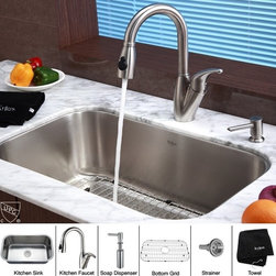 Kraus - 31.5 in. Single Bowl Kitchen Sink with Faucet and Soap Dispenser - Add an elegant touch to your kitchen with unique Kraus kitchen combo