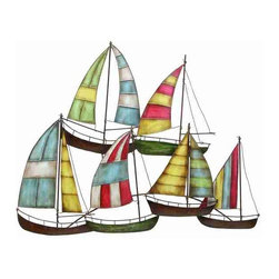 UMA - Sailboat Fleet Metal Wall Sculpture - Six sailboats form a fleet of fun for your nautical decor; handcrafted metal sculpture is ideal for the nautical-themed room or for any sailing enthusiast