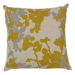 """Surya - Surya JD-030 Jef Designs Floral Pillow, 20"""" x 20"""", Down Feather Filler - Get caught up in cattails with this beautifully designed pillow from the Jef designs collection. Featuring smooth cattail images and pops of yellow bursts splashed across a soft grey canvas, this piece will give your room a natural feel with still maintaining qualities of high fashion. This pillow contains a zipper closure and provides a reliable and affordable solution to updating your home's decor. Genuinely faultless in aspects of construction and style, this piece embodies impeccable artistry while maintaining principles of affordability and durable design, making it the ideal accent for your decor."""