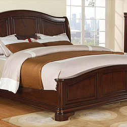 None - Caspian Queen Bed - Redecorate your bedroom with a traditional queen bed from Caspian. Made from select hardwood and birch veneer,the bed features Louis Philippe-inspired rounded lines that create a timeless look. The cherry finish complements most room's color schemes.