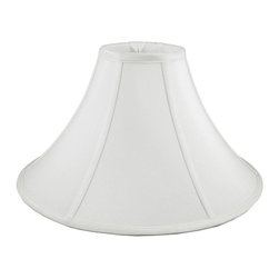 American Heritage Shades - Handmade Lampshade in White (24 in. Diam x 14 in. H) - Choose Size: 24 in. Diam x 14 in. HLampshade Types. Shantung faux silk with off-white fabric liner. Matching top, bottom and vertical trim. Round coolie bell shape. Enhances lamp and room decor. Made from polyester and fabric. Fitter in brass color. Made in USA. No assembly required
