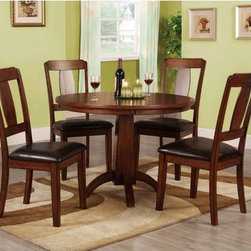 Hokku Designs - Englewood 5 Piece Dining Set - In a rich antique oak finish with deliciously smooth, leatherette-dark espresso upholstered seat chairs and round dining table with pedestal base - the Englewood 6-PC Dining Set lets you dine in a comfortable yet contemporary setting. For coffee with guests or brunch with the family, dining set will bring a refreshing modern design to any dining room. Features: -Corner blocking for structural integrity.-Molded round table top solidly supported by tapered pedestal base.-Extra padded chair seat offer superior seating comfort.-ISTA 3A certified.-Set includes one dining table and four chairs.-Chair upholstered in black color leatherette.-Frame construction: Solid wood and veneer.-Collection: Englewood.-Distressed: No.Dimensions: -Dining table dimensions: 30'' H x 42'' W x 42'' D.-Chair dimensions: 39.75'' H x 22.88'' W x 19.25'' D.